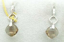 14K Gold Checkerboard Genuine Natural Smoky Quartz Earrings (#2398) - $213.75
