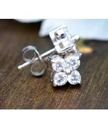 14K White Gold Finish Simulated Diamond Flower Stud Earrings - $69.99