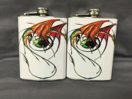 Set of 2 Dragon Eyeball Art Flasks 8oz Stainless Steel Drinking Whiskey - $15.79
