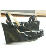 Nine West sz 7.5 Genuine Patent Leather Wedge High Heel Shoe BLK Ankles ... - $24.75