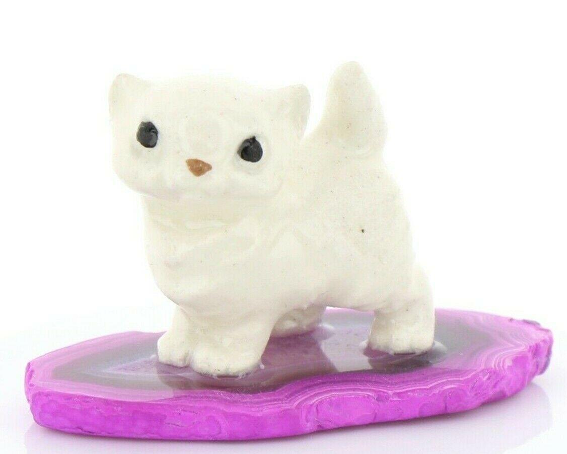 Stepping Stones Fairy Garden Miniature Persian Kitten Sliced Quartz Base 2737