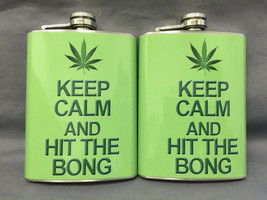Set of 2 Keep Calm Leaf Flasks 8oz Stainless Steel Drinking Whiskey - $13.81