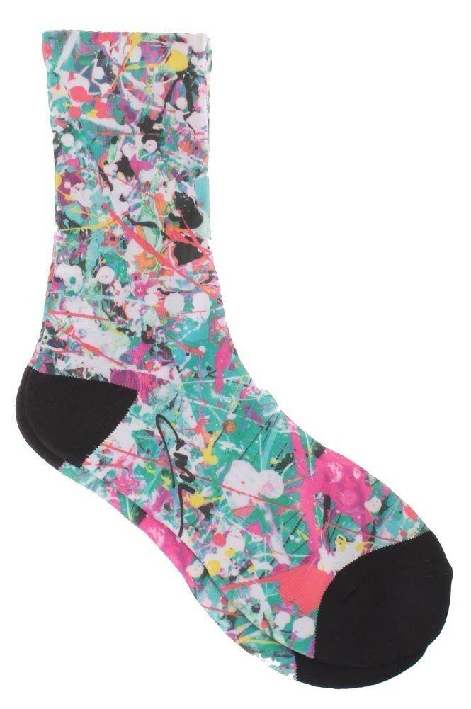 Civil Clothing Womens Jackson White Turquoise Paint Splatter Sublimation Socks