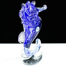 Dynasty Gallery Handmade Blue Seahorse Glow in the Dark Art Glass Figurine image 3