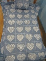 """QUILT 18"""" doll pillow/comforter blanket for american girl other blue lace heart - $19.80"""