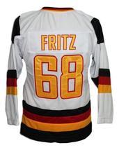 Custom Name # Team Germany Retro Hockey Jersey New Sewn White Fritz #68 Any Size image 2