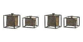 FOUR NEW LARGE NATURAL SLATE STONE & IRON FRAME DECORATIVE BOXES REMOVAB... - $391.60