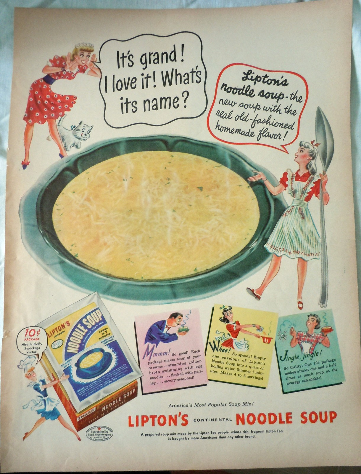 LIpton's Continental Noodle Soup Advertising Print Ad Art 1940s