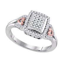 10kt Two-tone Gold Womens Round Diamond Square Cluster Heart-accent Ring - $360.00
