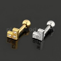 Cartilage Helix Tragus Piercing Square Cutout Flower Ear Stud - $5.99