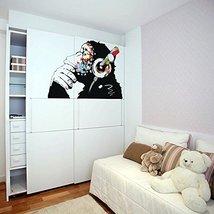 (55'' X 38'') Banksy Vinyl Wall Decal Monkey with Headphones / Colorful Chimp Li - $81.66
