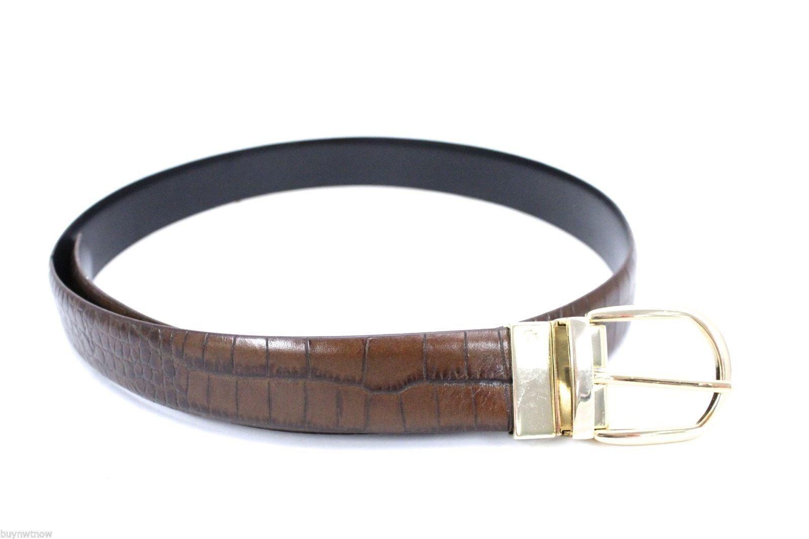 RLL Ralph Lauren Reversible Belt Brown Alligator /Black Leather Waist 33-37