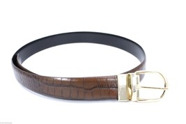 RLL Ralph Lauren Reversible Belt Brown Alligator /Black Leather Waist 33-37 - $46.57
