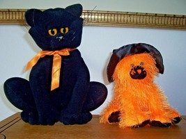 Vintage Heartline Halloween Black Cat & Orange TY Cat Stuffed  - €26,42 EUR