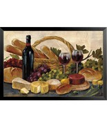 FRAMED Wine Cheese Bread and Grapes by Silvia Vassileva 36x24 Art Print - $74.79