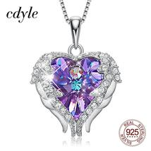 Cdyle Fashion Women 925 Sterling Silver Necklace with Purple Crystal Ang... - $58.78+