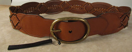 Lauren Ralph Lauren Tan Braide Wide Woven Leather  Belt New $68 - $29.95