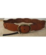 Lauren Ralph Lauren Tan Braide Wide Woven Leather  Belt New $68 - $29.95