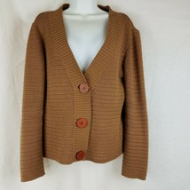 TALBOTS Petites Open-Weave Knit Sweater Cardigan Womens M Mocha Brown Italy - $32.59