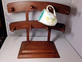 Large Mid Century MCM Wooden Wood Peg 8 Coffee Cup Mug Table Top Rack Ho... - $249.99