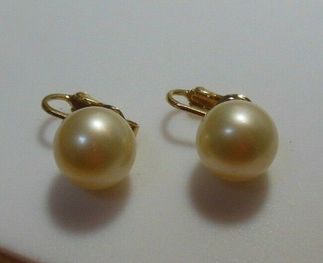 Vintage Crown Trifari Gold-tone Faux Pearl Clip Earrings