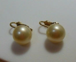 Vintage Crown Trifari Gold-tone Faux Pearl Clip Earrings - $15.83