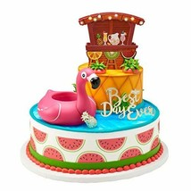 Tropical Beach Flaming Cake Topper Decoration Cupcake Hawaii LUAU Polyne... - $21.73