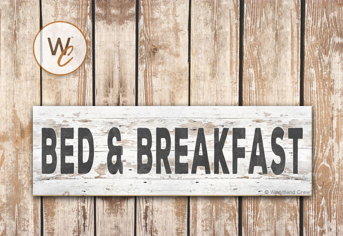 "Bed and Breakfast Sign, 5.5"" x 17"" Wood Sign, Rustic Farmhouse Style Sign"