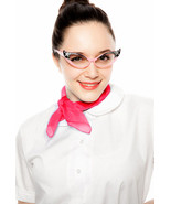 White Peter Pan Collar sz 2X Blouse & Sheer Scarf - 50s Style COMBO - He... - $23.00