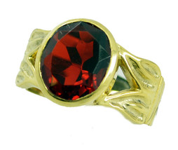 splendid Ruby CZ Gold Plated Red Ring genuine Designer US gift - $27.99