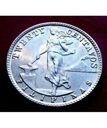 1944 Philippines 20 Centavos Silver Coin Very Nice ! - $6.35
