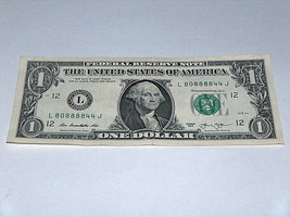 2013 $1 One Dollar Bill US Note Even 4 Block 0 4 8 80888844 Fancy Serial Number - $13.78