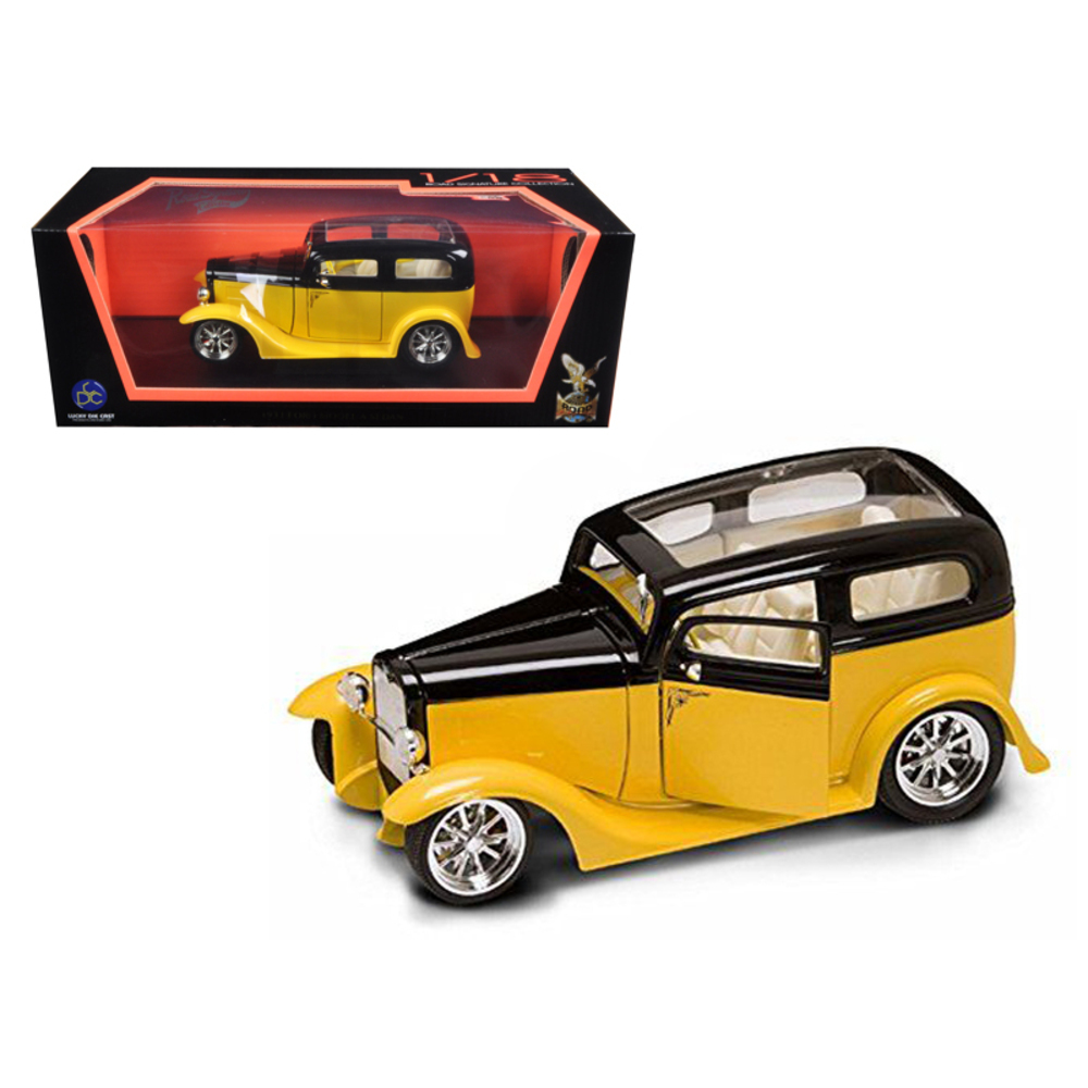 1931 Ford Model A Sedan Yellow/Black 1/18 Diecast Car Model by Road Signature 92