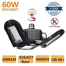 60W LED Garage Light,Deformable Ceiling Light,God Eye,Ease Installation,6000LM 6