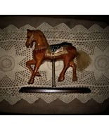 CAROUSEL HORSE Carved Wood Vintage USA Flag Color Paint Limited Edition Model 17 - $90.25