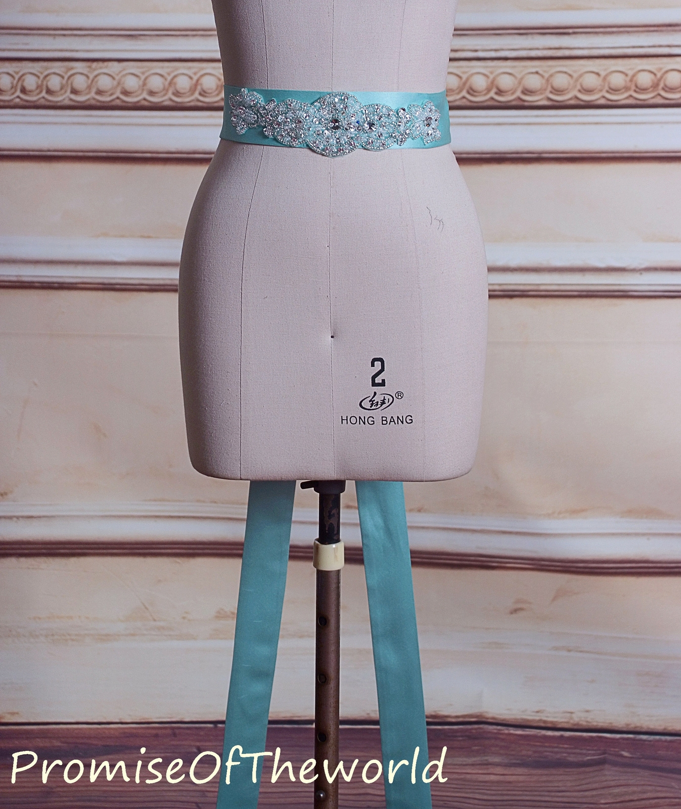 Mint green satin beaded 5 CM wide waist sash wedding dress belt bridal sash
