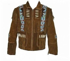 Men's New Native American Mountain Man Buckskin Green Goat Suede Bead Shirt FJ21 - $129.00