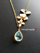 Aqua Teardrop Gem Lariat Gold Orchid Trio Necklace Bridal Necklace Aqua ... - $42.00+