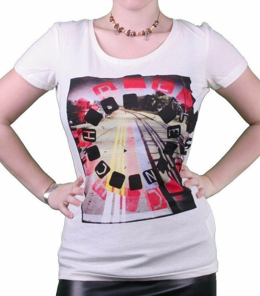 Bench UK Damen Hartford Creme Grafik Mode T-Shirt BLGA2368 Nwt