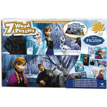 Disney Frozen 7 Wood Jigsaw Puzzles in Wood Storage Box & free Fidget Sp... - $19.99