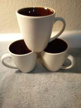 (3) Sango Coffee MUGS--RIVA Brown 4655--RIBBED--BEIGE---FREE SHIP--VGC - $26.27