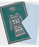 BRAVO !  WELL DONE ! Shiny Congratulations Graduate Wishes Greeting Card  - $6.99
