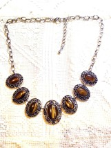 Vintage Handmade Silver Finish Genuine Golden Tiger's Eye Gemstone Necklace - $31.68
