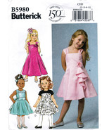 Butterick B5980 Girls Dresses Petticoat Children Sewing Pattern Kid Size... - $6.45