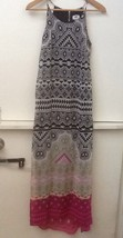 Old Navy Womens Maxi Dress Black Pink Print Hi Low Chiffon Lined Sleevel... - $9.95