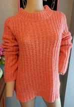 Field Flower Anthropologie Peach Chunky Knit Wool Blend Sweater L - $80.74