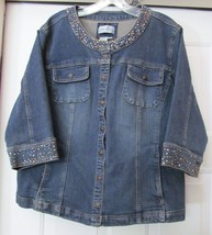 Live a Little Plus Size Jean Jacket Coat Wash Blue Denim blend Studs 3/4... - $29.95
