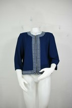 St John knit jacket 10 mint worn 1X polka-dot blue white 3/4 sleeves - $150.00