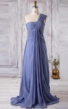 Long One Shoulder Sleeveless Blue Chiffon Bridesmaid Wedding Gown Dresse... - $95.00