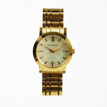 """Burberry Gold Tone Stainless Steel & Sapphire Crystal """"Heritage"""" Bracelet Watch - $258.00"""